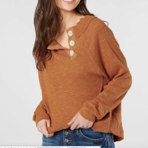 Free People Don't Forget Me Side Button Knit Top
